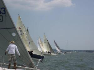 Judging the start in the Impala class, whose National Championship formed part of the RSrnYC's July Regatta.