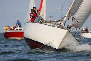 Redshank racing off Teignmouth with Stuart Palmer at the helm. Photo: Heather Davies