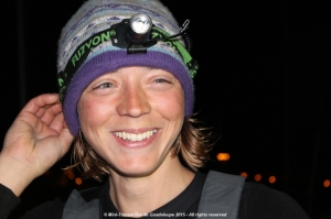 Her beaming smile lit up the darkness as Lizzy completed Leg 1 into Lanzarote.